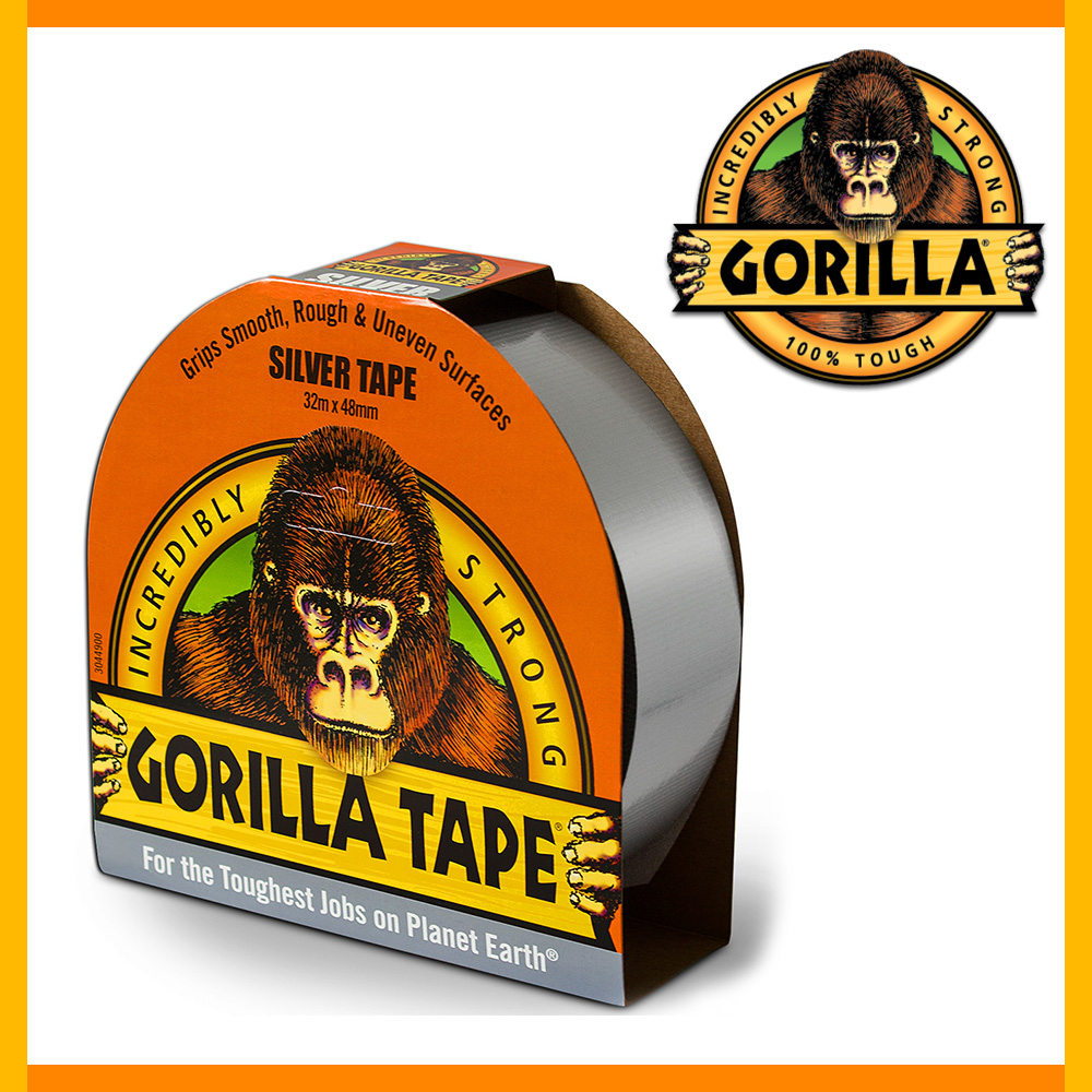 Gorilla – Sølv Tape, 32 m x 48 mm
