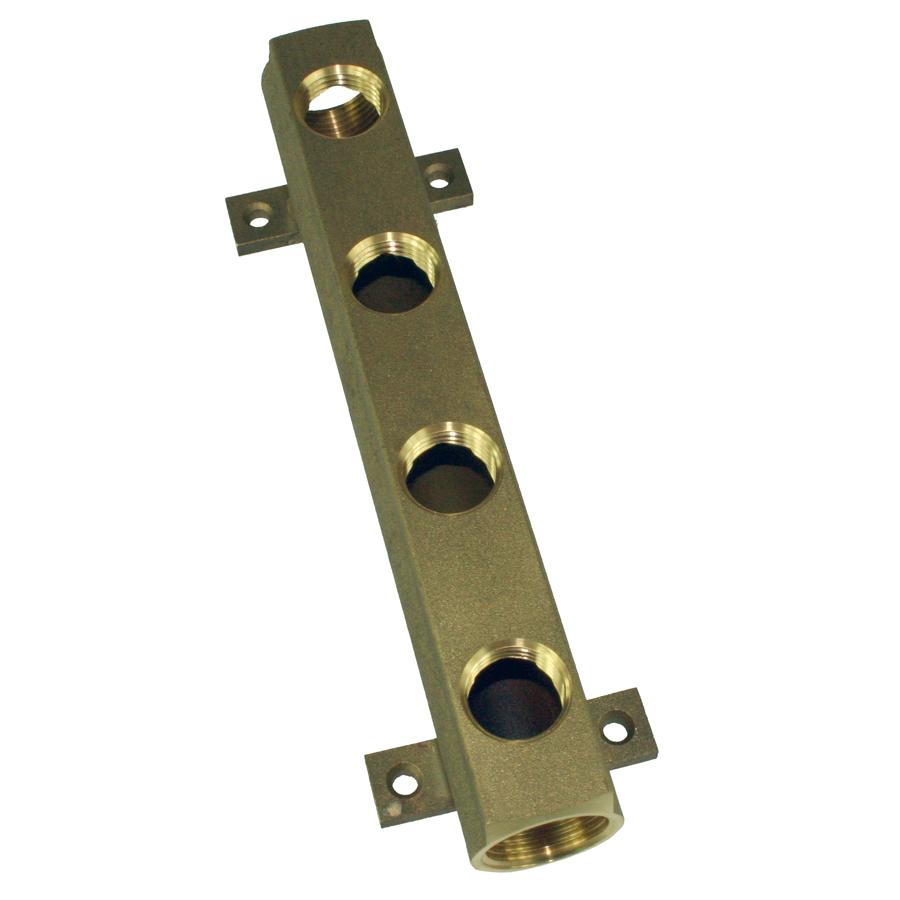 "Manifold messing m/ hull, 2 x 3/4"" og 4 x 1/2"""